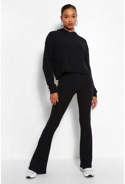 Black Tall Soft Rib Crop Hoody & Flare Trouser Set
