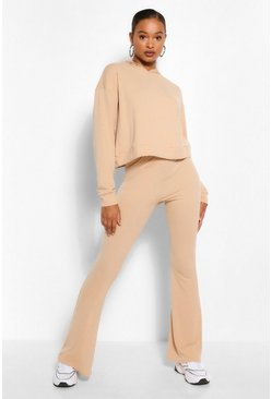 Stone beige Tall Soft Rib Crop Hoody And Flare Trouser Set