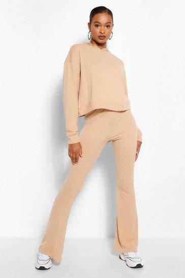 Stone beige Tall Soft Rib Crop Hoody And Flare Trouser Set