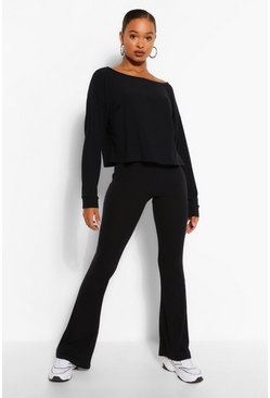 Black Tall Soft Rib Slash Neck Crop & Flare Trouser Set