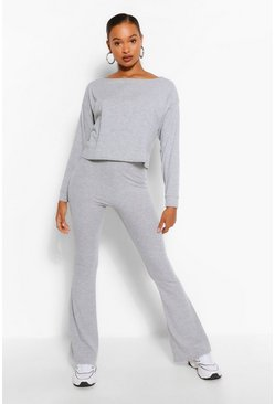 Grey Tall Soft Rib Slash Neck Crop & Flare Trouser Set
