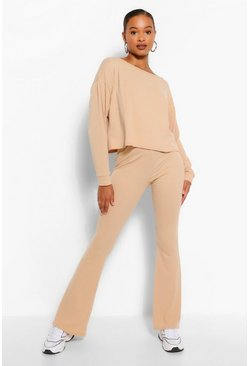 Stone beige Tall Soft Rib Slash Neck Crop & Flare Trouser Set