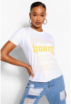 "Camiseta con eslogan ""Honey"" Alta, Blanco"