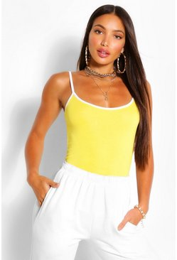 Yellow Tall Contrast Trim Vest Top