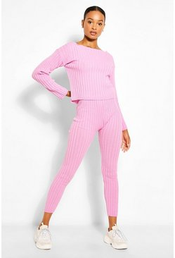 Cherub pink Tall Knit Slash Neck & Legging Lounge Set