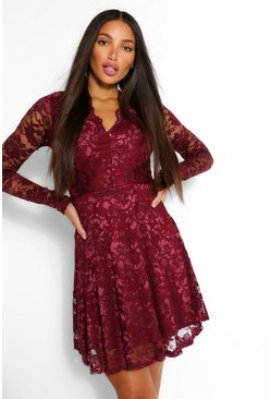 Berry Tall Plunge Lace Skater Dress