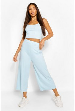 Blue Tall Rib Crop Top And Culottes Trouser  Co-Ord
