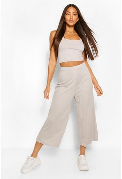 Grey Tall Rib Crop Top And Culottes Trouser  Co-Ord