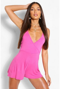 Cerise pink Tall Basic Flippy Playsuit