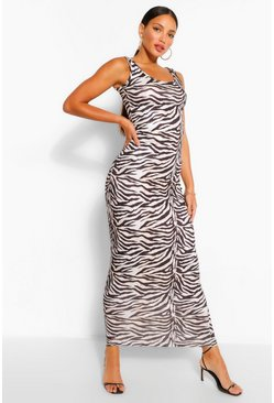 Black Tall Zebra Print Maxi Dress