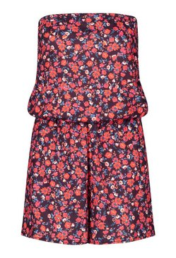 Red Tall Bandeau Ditsy Floral Print Playsuit