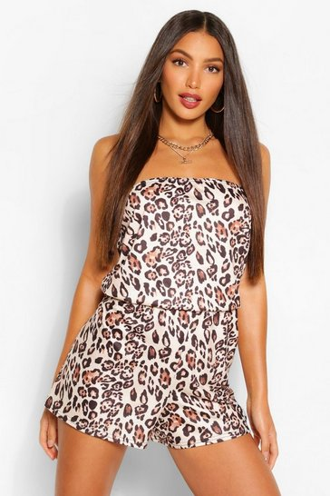 Brown Tall Bandeau Leopard Print Playsuit