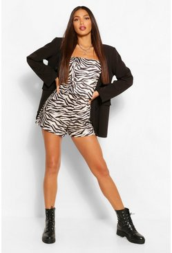 Black Tall Bandeau Zebra Print Playsuit