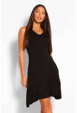 Black Tall Jersey Oversized Ruffle Smock Dress