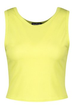 Lime Tall Rib 90's Racer Crop Top