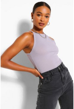Grey Tall Rib Racer Neck Top
