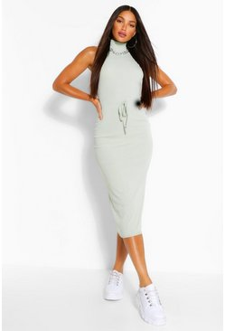 Sage green Tall Rib Drawstring Midi Dress