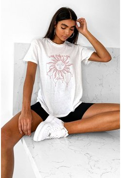 White Tall 'Los Angeles' Sun Graphic T-Shirt