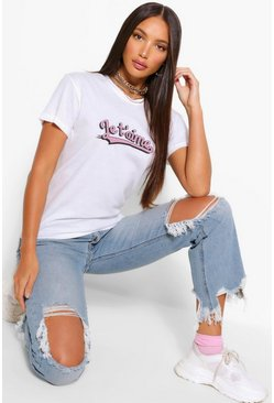 White Tall 'Je t'aime' Slogan T-Shirt