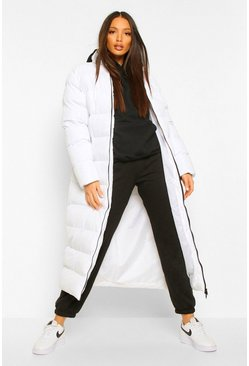 White Tall Longline Padded Maxi Coat