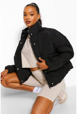 Black Tall Padded Oversized Cropped Puffer