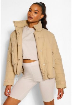 Taupe beige Tall Padded Oversized Cropped Puffer