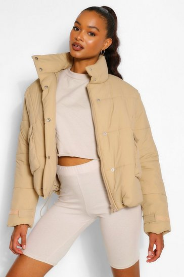 Taupe beige Tall Padded Oversized Cropped Puffer Jacket