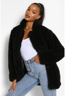 Black Tall Oversized Faux Fur Shaggy Coat