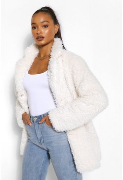 Ecru white Tall Oversized Faux Fur Shaggy Coat