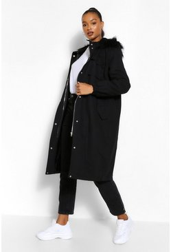 Black Tall Faux Fur Oversized Longline Parka