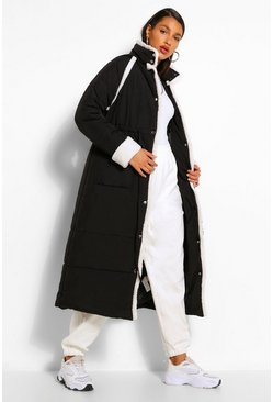 Black Tall Padded Contrast Faux Fur Trim Longline Coat