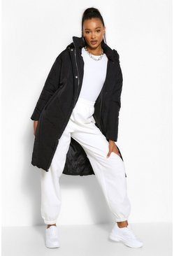 Black Tall Hooded Longline Puffer Coat