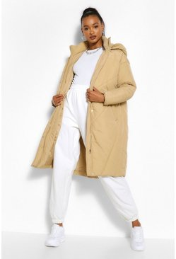 Camel beige Tall Hooded Longline Puffer Coat