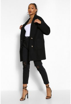 Black Tall Wool Oversized Pocket Coat