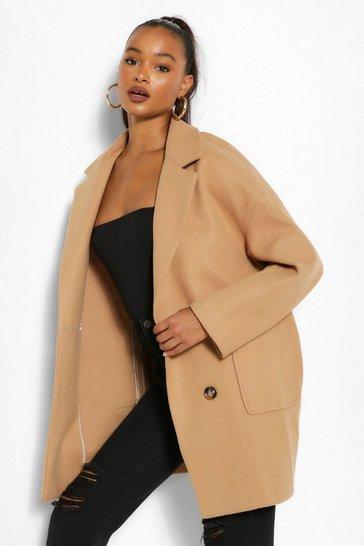 Camel beige Tall Wool Oversized Pocket Coat