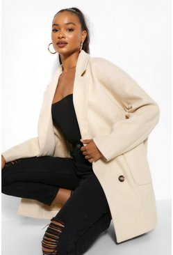 Cream white Tall Wool Oversized Pocket Coat