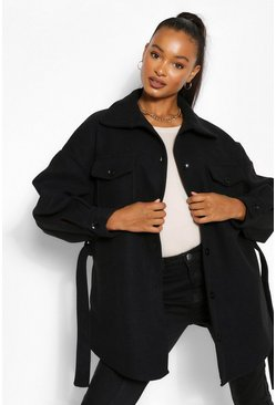 Black Tall Wool Belted Shacket Coat