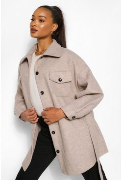 Oatmeal beige Tall Wool Belted Shacket Coat