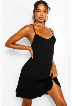 Black Tall Mini Jersey Swing Dress