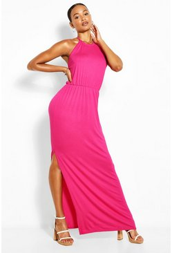 Pink Tall Halterneck Split Leg Maxi Dress