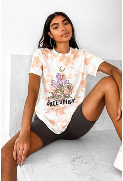 Tan Tall Acid Wash Crystal Oversized T-Shirt