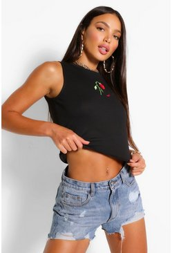 Black Tall Flower Motif Rib Crop Top