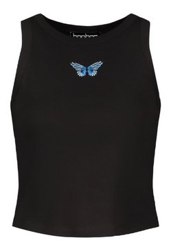 Black Tall Butterfly Motif Rib Crop Top