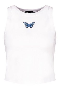 White Tall Butterfly Motif Rib Crop Top