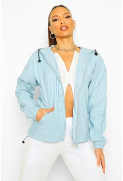 Light blue blue Tall Zip Drawcord Windbreaker