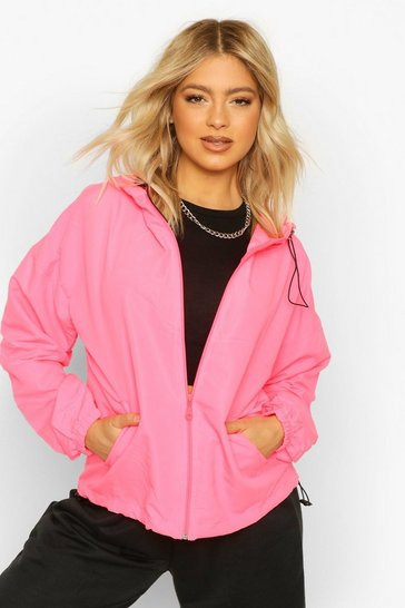 Pink Tall Zip Drawcord Windbreaker