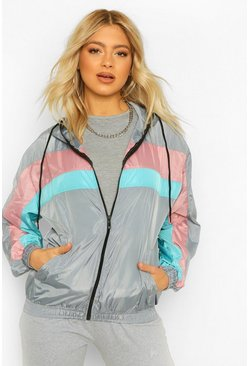 Grey Tall Hooded Colour Block Windbreaker