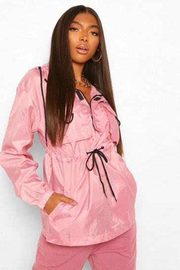 Pink Tall Throw-Over Pocket Windbreaker