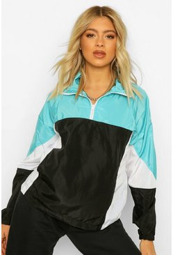 Aqua blue Tall Colour Block Windbreaker Met Rits