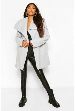 Grey Tall Teddy Faux Fur Midi Coat